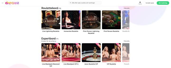 Dreamz Casino - Roulettebord