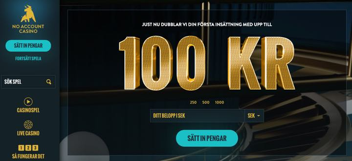 NoAccount casino - bonus